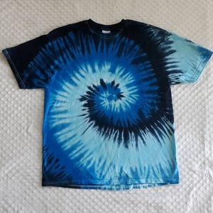 Blue tie dye tee t shirt hippie boho Size XL
